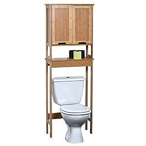 TENDANCE–Mahe bambú WC Accesorio de + 2MDF Puertas + 1Estante Interior, Madera, Blanco/Roble, 57x 21.5x 173cm
