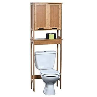 417Xvwn4SpL. SS324  - TENDANCE-Mahe bambú WC Accesorio de + 2MDF Puertas + 1Estante Interior, Madera, Blanco/Roble, 57x 21.5x 173cm