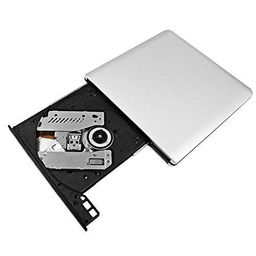 QYD Externes DVD-Laufwerk, USB 3.0 Ultra Slim Tragbarer DVD-Brenner CD +/-RW optisches Laufwerk DVD +/-RW Super Drive, Integriertes USB-Kabel für Apple Mac Macbook Asus Mac Macbook Lenovo Acer (Apple Dvd)