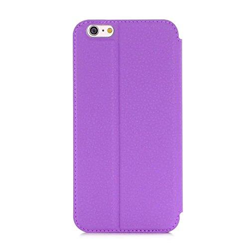 iPhone 6 6S Etui Coque, SHANGRUN PU Cuir Housse Coque Fenêtre d'ouverture Case Flip Cas de Protection Portable Skin View Window Etui Cover pour iPhone 6 / 6S (4.7 inch) Blanc Violet
