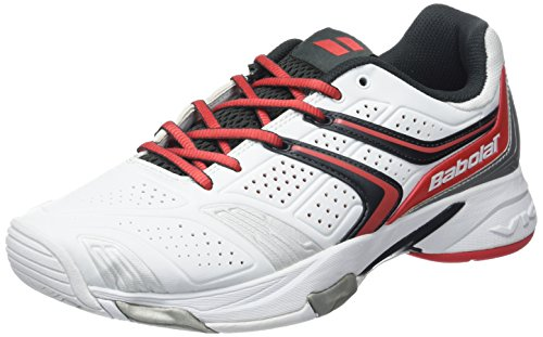 BABOLAT Chaussures de All Court de tennis Drive 3pour Femme Blanc blanc/rouge Size UK 7
