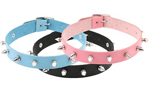 Esenfa 3pezzi collare Unisex Vintage, stile punk Emo, Cuore, Collana girocollo In Pelle, 40,6 cm, Lattice, black pink blue, 40,6 cm