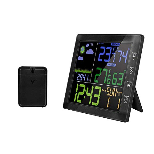 MFY&CZ Wireless Weather Station Color Display Digital Thermometer Hygrometer Radio Clock Alarm Clock with Outdoor Sensor Weather Forecast Clock for Indoor and Outdoor
