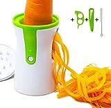 Cortador en Espiral Rallador de Verduras, Chinansia Zucchini Spiralizer, Con Cepillo de Limpieza y Pelador de Naranja(Blanco)