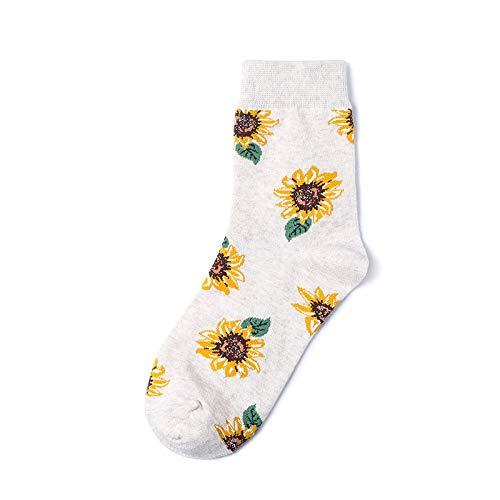 CHAOJI Socken 6 Paare Herbst Und Winter Socken Sonnenblume Sonnenblume Mode Socken Frauen Baumwollsocken Stricken Cartoon-Muster - Winter-sport-muster-socken