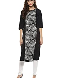 Kurta For Women - Straight Floral Print - PolyCrepe - 3/4 Sleeves - Black Color Round Neck - Long Kurta By Colors...