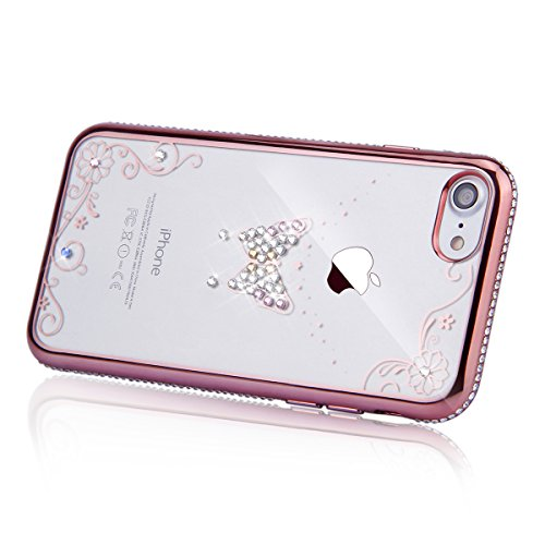 Coque pour iPhone 7/iPhone 8,iPhone 7 Or Rose Coque en Silicone Clair Ultra-Mince Etui Housse avec Bling Diamant,iPhone 7 Placage Coque Bling Bling Glitter Sparkle Diamond Silicone Case Rose Rose Gold Or Rose-Papillon