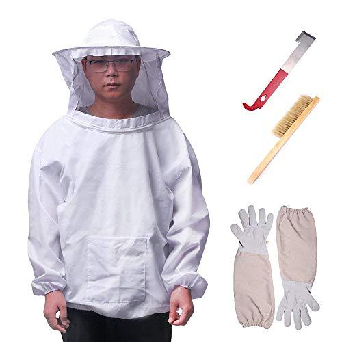 ONEVER 4PCS Apiculture Costume Ensemble d'outils - Apiculteur Suit Veil Outils Kit, Manches Longues Gants Bee Hive Brush J Hook Hive moitié du Corps