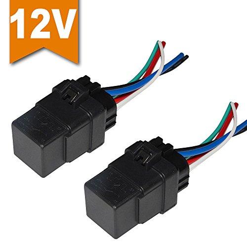 Preisvergleich Produktbild Ehdis® [2 Stück] Auto-Automobil-LKW-Boot 40 Ampere-Relais Harness 12V 40A SPDT Relaissockel Stecker 5 Pin 5-Wire-Bosch-Art