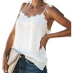 riou Mujer Verano Mujer Ropa Camisetas sin Mangas Tank Top Camisola de Encaje Color sólido Sexy Casual sin Mangas Blusa Cami Camisas Camiseta Tops