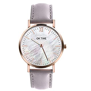 Analog Quartz Watches, Betreasure Ultra Thin Men's Women Watches Luxury Leather Casual Quartz Watch