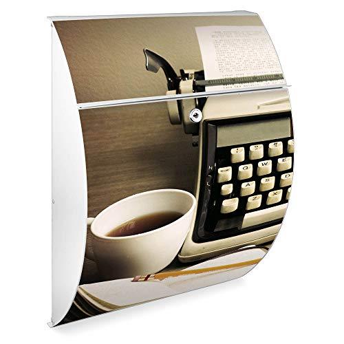 Burg Wächter Design Briefkasten   Modell Riviera 46cmx33,5cmx13cm groß   verzinkter Stahl Weiß   Postkasten mit Öffnungsstopp, großer A4 Einwurf, Zylinderschloss, 2 Schlüssel   Motiv Schreibmaschine