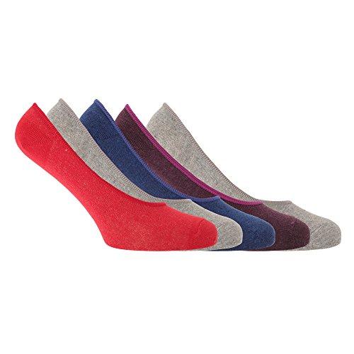 Soho Collection - Fantasmini/Calzini sportivi in diversi colori (pacco da 5)- Uomo (41-46 EU) (Rosso/Blu/Grigio chiaro/Viola)