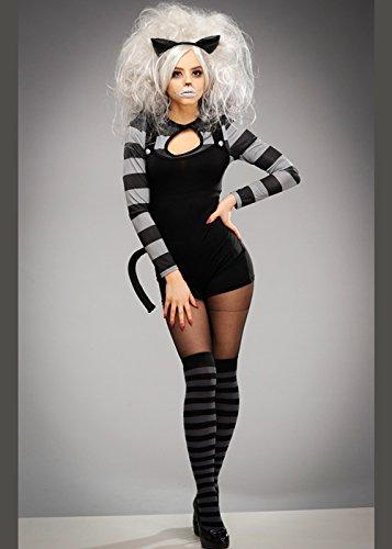Womens Gothic Black Wicked Cheshire Katze Kostüm Small (UK 8-10) (Cheshire Katze Ohren)