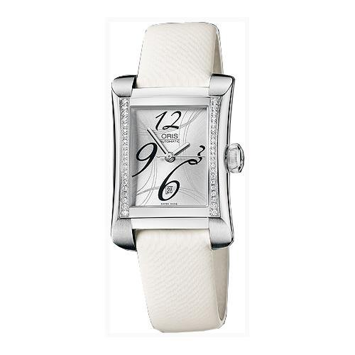 ORIS WOMEN'S WHITE LEATHER BAND STEEL CASE AUTOMATIC WATCH 56176214961LS