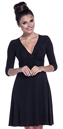 Zeta Ville - Vestito midi abito di seta disegno nodo scollo a V - donna - 295z Nero