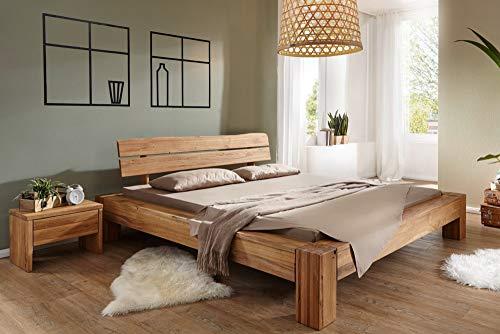 Riess Ambiente Massives Holz Bett Thor I 180x200cm Wildeiche geölt Balken Bett Holzbett Doppelbett