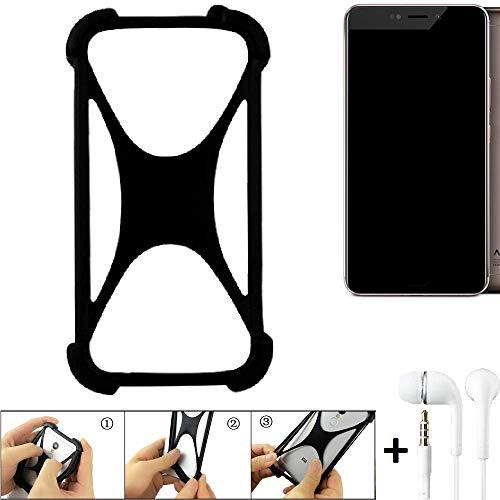 K-S-Trade Handyhülle für Allview X4 Xtreme Schutzhülle Bumper Silikon Schutz Hülle Cover Case Silikoncase Silikonbumper TPU Softcase Smartphone, schwarz (1x), Headphones