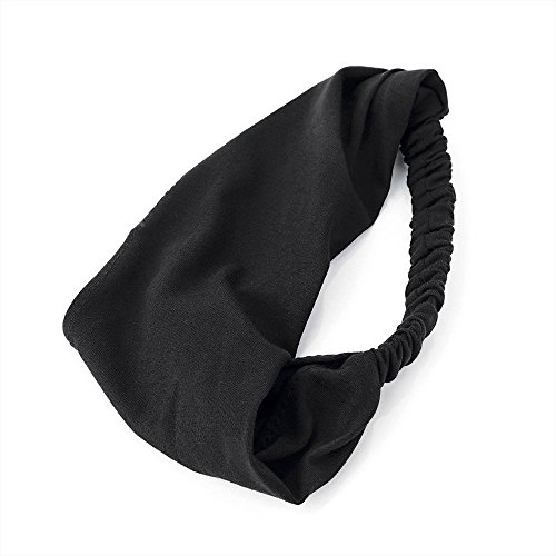 Plain Black Soft Jersey Cotton Fabric Headwrap Hair Band
