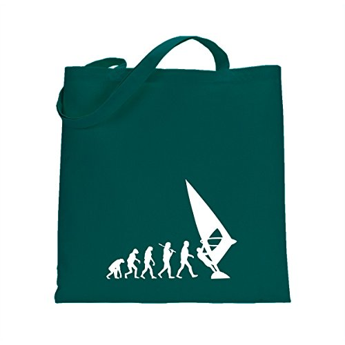 Shirtfun24 Baumwolltasche EVOLUTION WINDSURFER Surfen Surfer, bottle (grün) emerald grün