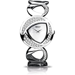 Seksy Women's Quartz Watch with Mother of Pearl Dial Analogue Display and Silver Stainless Steel Bracelet 4488.37