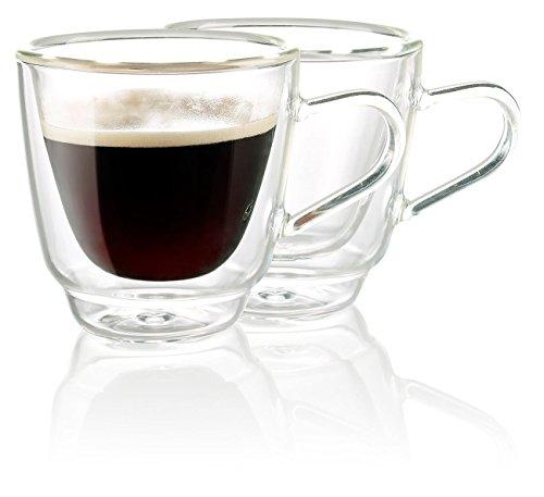 Cucina di Modena Espressotassen: Doppelwandige Espresso-Tassen aus Glas, 2er-Set (Espressotassen Glas)