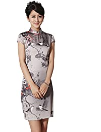 JTC Femmes Cheongsam Qipao Robe longue Style Chinois Peinture d'Encre en soie imité-Gris