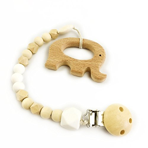 Holzbadespielzeug Baby Dummy-Clips wulstige Schnuller Clip niedlichen Elefanten Baby-Dusche Geschenke Holzperlen Waldorf Holz Beißring Spielzeug
