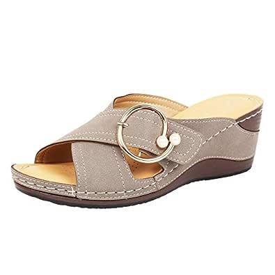 Catwalk Womens Grey Wedges Sandals Fashion 4 UK (38 EU) (4372GR-4)