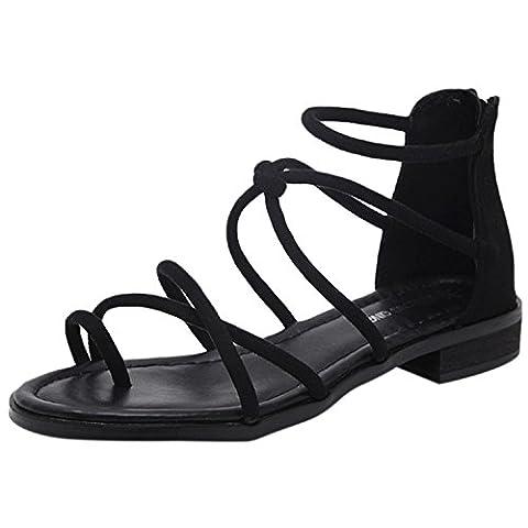 Oasap Women's Fashion Cross Strap Flat Gladiator Thong Sandals, Black EURO42/US11/UK9