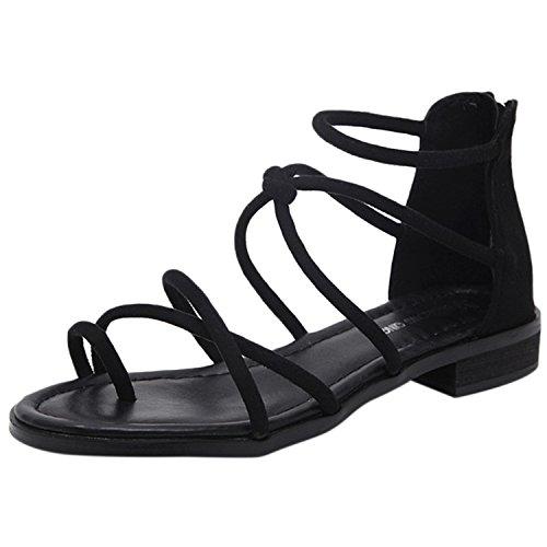 Oasap Women's Fashion Cross Strap Flat Gladiator Thong Sandals Black