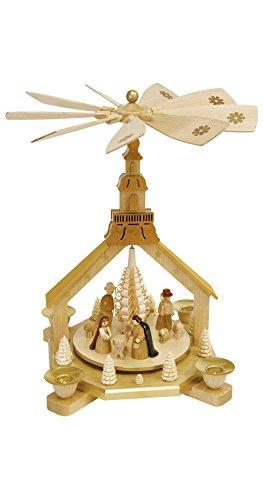 Pyramide de Noël scène de la Nativité, hauteur 27 cm, Erzgebirge originale de Richard Glaesser