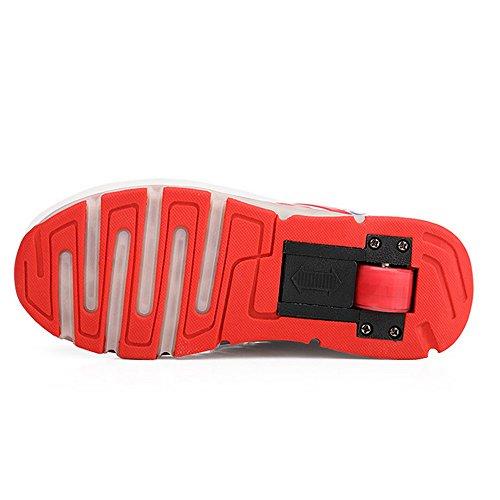Meurry Super Light Garçon Fille Enfants Roller Chaussures Skates LED Luminous Roue Trainers Skateboard Sneaker Single Round Sports Chaussures Rouge