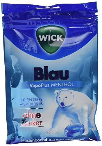 WICK Blau Hustenbonbons ohne Zucker - ein tiefes Atemerlebnis dank Menthol und natürlichem Arvensis Minz-Aroma - 1er Pack (1 x 72 g)