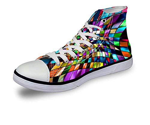 Fashion Canvas Sneakers Lace-up Athletic High Top for Girls Travel School Boots C0711AK. Women's US 5 = EUR 35 -