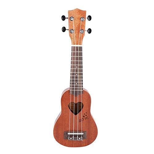 RiToEasysports Ukulele, Ukulele, Hawaiianische Gitarre für Kinder, tragbar, langlebig, 43,2 cm, tragbar, 4 Saiten Ukulele mit Tasche, Geschenk für Mädchen und Kinder Dark Wood Color