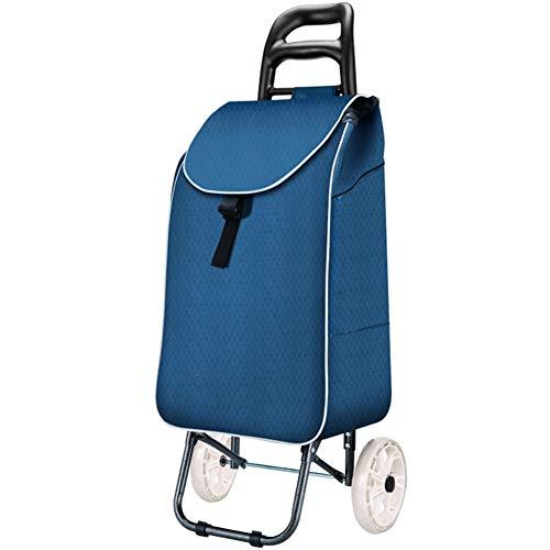 FOTEE Einkaufstrolley mit Kühlfach, klappbar Einkaufswagen Mit Rollen Handwagen Leinwand Einkaufsroller regenfeste Tasche,Style 2_37x10in