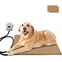 Osaloe Manta de Calefacción Eléctrica para Perros y Gatos, 30W Almohadilla de Calentamiento para Mascotas con 7 Niveles de Temperatura Ajustable, 65 x 40 CM (Caqui)