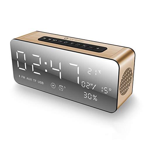 Ice-Bingo Altavoz Bluetooth, Bluetooth inalámbrico 4.2 Altavoces con Reloj, FM y Bold Bass, Manos Libres, 12H Tiempo de Juego para Echo Dot, iPhone, iPad, Samsung, Tableta, Ideas de Regalos (Oro)