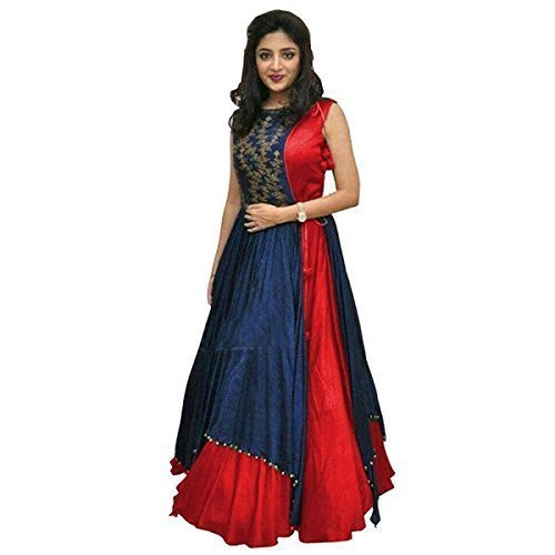 Morang Women's Stylish Multicolour Georgette Digital Print Unstitch Gown(Red)