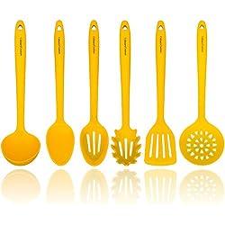 Jaune ustensiles de cuisine en silicone - Noyau intérieur en acier robuste - Spatule, cuillère, louche, service pour pâtes, écumoire et cuillère perforée - Ustensiles de cuisine résistant à la chaleur
