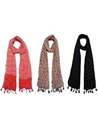 FusFus Women's Cotton Stoles (F072, Multicolour) - Pack of 3