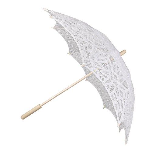 Baumwoll Spitze Sonnenschirme Brautschirm Hochzeitszubehör Weiß