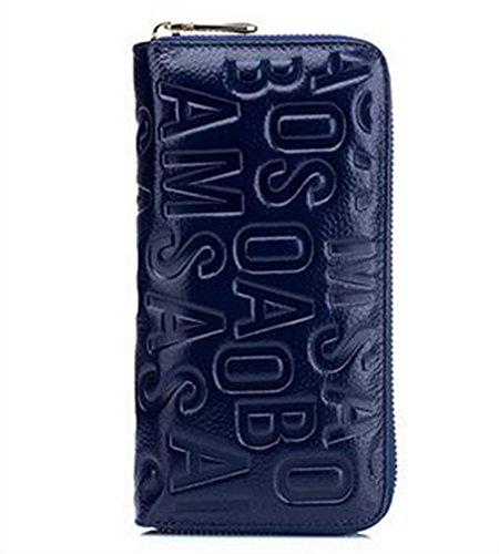 MeiliYH Ladies Long Sezione Cuoio in rilievo Lettera con Zippered Portafoglio blu_scuro