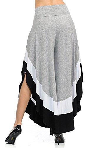 YACUN Le Donne Culotte Ampia Gamba Pantaloni Color Isolato Lungo La Falda È In Basso Grey