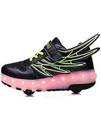 YMJJ LED Enfants Chaussures /À roulettes Roues Simples R/étractable Rollerblades De Skateboard Vibration Illuminent en Plein Air Unisexe Poulie Chaussures,31