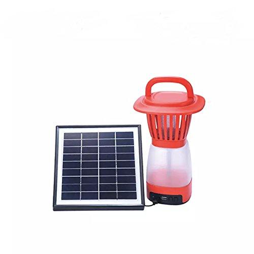 Sayes Wiederaufladbare LED-Buld Licht Schutzschale Afrika Solar Mosquito Killer Lampe (rot)