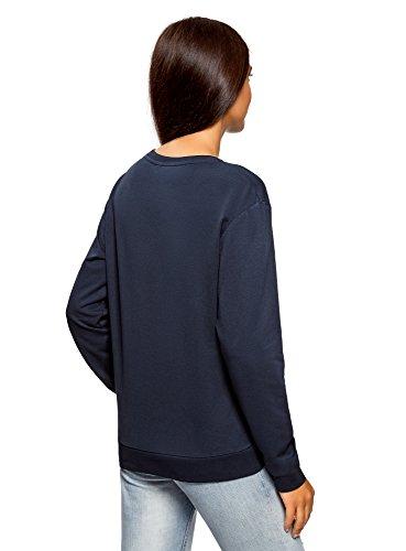oodji Ultra Femme Sweat-Shirt en Coton (Lot de 3) Bleu (7900N)