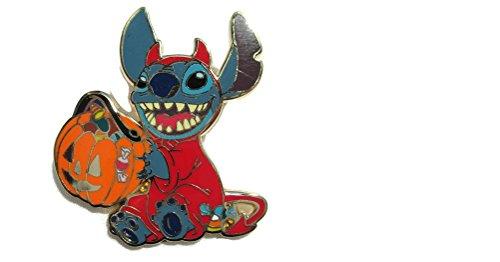(Disney Stitch in Trick or Treat Halloween Teufel Kostüm mit Kürbis Pin)