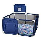 Baby Playards Laufgitter für Kleinkinder, Faltbarer, tragbarer, großer Zaun - mit Basketballkorb, Ball